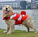 Xiaoyu Hundeweste, verstellbare Schwimmweste für Haustiere Schwimmweste für Hunde, Schwimmkleidung für Neulinge Schwimmweste für Haustiere, Wassersicherheit am Pool, Strand, Bootfahrt, rot, L
